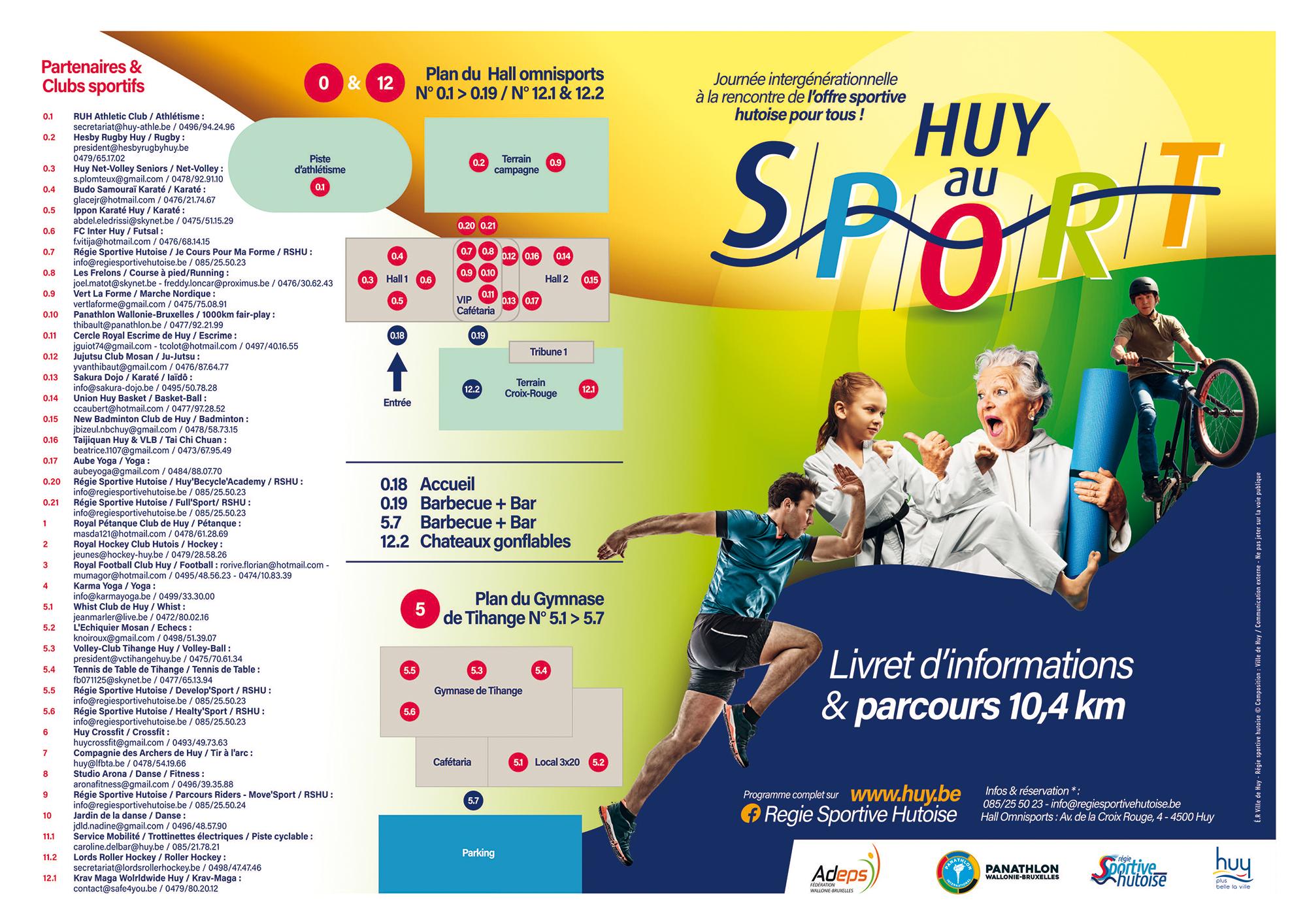 Huy au Sport : 18 Septembre 2021 : Programme de la journée